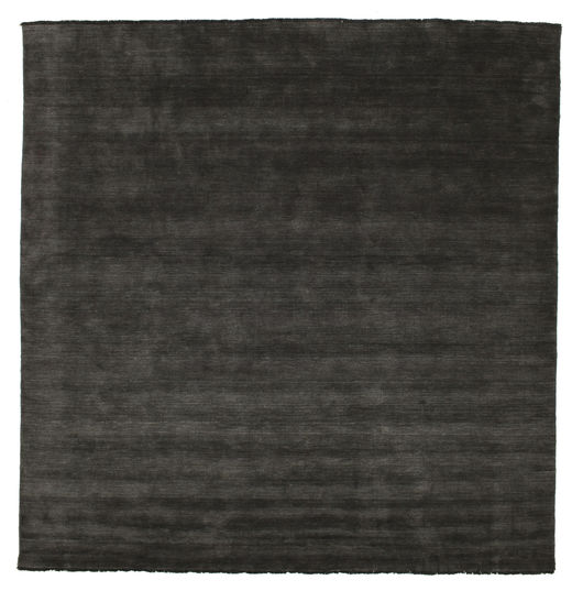Handloom Fringes - Nero/Grigio Tappeto 300X300 Moderno Quadrato Nero Grandi (Lana, India)