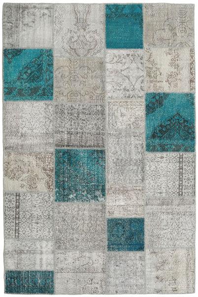 Patchwork Tappeto 200X301 Moderno Fatto A Mano Grigio Chiaro/Blu Turchese (Lana, Turchia)