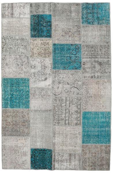 Patchwork Tappeto 196X301 Moderno Fatto A Mano Grigio Chiaro/Blu Turchese (Lana, Turchia)