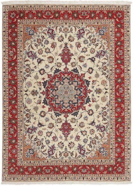 Tabriz 50 Raj Tappeto 151X210 Orientale Tessuto A Mano Grigio Chiaro/Rosso Scuro (Lana/Seta, Persia/Iran)