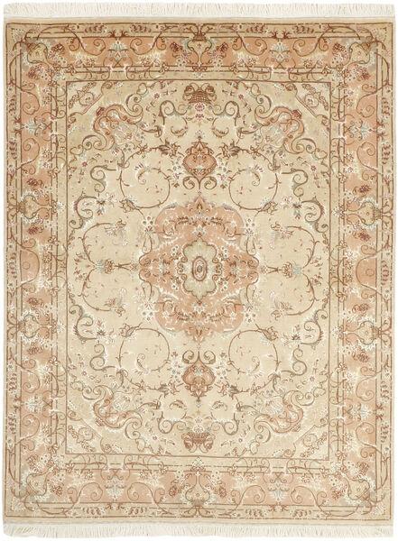 Tabriz 50 Raj Tappeto 151X197 Orientale Tessuto A Mano Beige/Beige Scuro (Lana/Seta, Persia/Iran)
