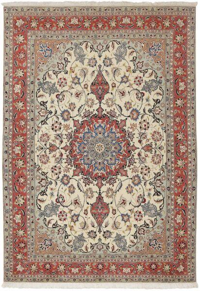 Tabriz 50 Raj Tappeto 154X224 Orientale Fatto A Mano Grigio Chiaro/Marrone Scuro (Lana/Seta, Persia/Iran)