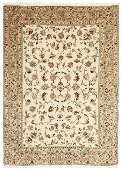 Tabriz 50 Raj Tappeto 147X206 Orientale Fatto A Mano Beige/Marrone Chiaro (Lana/Seta, Persia/Iran)