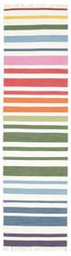 Rainbow Stripe - Bianco Tappeto 80X300 Moderno Tessuto A Mano Alfombra Pasillo Bianco/Creme (Cotone, India)