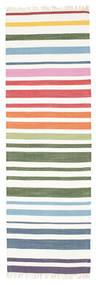 Rainbow Stripe - Bianco Tappeto 80X250 Moderno Tessuto A Mano Alfombra Pasillo Beige/Bianco/Creme (Cotone, India)