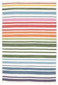 Rainbow Stripe - Bianco Tappeto 160X230 Moderno Tessuto A Mano Bianco/Creme (Cotone, India)