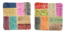 Patchwork Fodera Per Cuscino Tappeto 50X50 Orientale Fatto A Mano Quadrato Beige Scuro/Rosa Chiaro (Lana, Turchia)