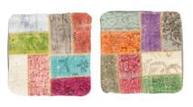 Patchwork Fodera Per Cuscino Tappeto 50X50 Orientale Fatto A Mano Quadrato Verde Chiaro/Beige (Lana, Turchia)