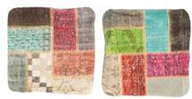 Patchwork Fodera Per Cuscino Tappeto 50X50 Orientale Fatto A Mano Quadrato Marrone Scuro/Verde Chiaro (Lana, Turchia)