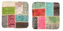 Patchwork Fodera Per Cuscino Tappeto 50X50 Orientale Fatto A Mano Quadrato Grigio Scuro/Verde Chiaro (Lana, Turchia)