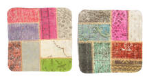Patchwork Fodera Per Cuscino Tappeto 50X50 Orientale Fatto A Mano Quadrato Grigio Chiaro/Verde Chiaro (Lana, Turchia)