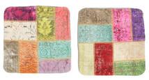 Patchwork Fodera Per Cuscino Tappeto 50X50 Orientale Fatto A Mano Quadrato Bianco/Creme/Ruggine/Rosso (Lana, Turchia)