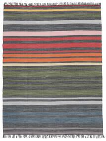 Rainbow Stripe - Grigio Tappeto 250X300 Moderno Tessuto A Mano Grigio Scuro/Verde Oliva Grandi (Cotone, India)