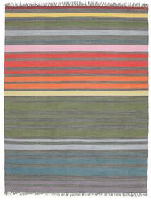 Rainbow Stripe - Grigio Tappeto 200X250 Moderno Tessuto A Mano Grigio Chiaro/Verde Oliva (Cotone, India)