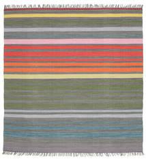 Rainbow Stripe - Grigio Tappeto 200X200 Moderno Tessuto A Mano Quadrato Grigio Scuro/Grigio Chiaro (Cotone, India)