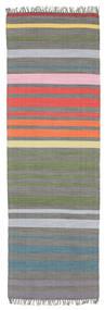 Rainbow Stripe - Grigio Tappeto 80X250 Moderno Tessuto A Mano Alfombra Pasillo Grigio Scuro/Grigio Chiaro (Cotone, India)