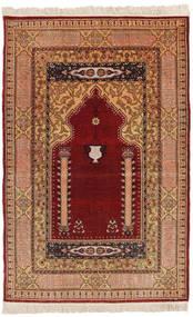 Herike Tu Tappeto 82X130 Orientale Fatto A Mano Rosso Scuro/Marrone Chiaro (Seta, Turchia)