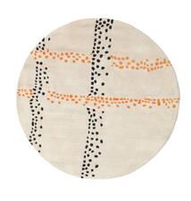 Delight Handtufted - Arancione Tappeto Ø 150 Moderno Rotondo Beige/Grigio Chiaro (Lana, India)