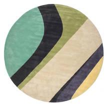 Dynamic Handtufted - Mint Tappeto Ø 300 Moderno Rotondo Beige/Grigio Scuro/Verde Pastello Grandi (Lana, India)