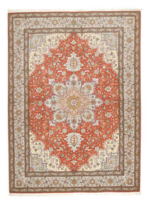 Tabriz 50 Raj Tappeto 150X208 Orientale Fatto A Mano Grigio Chiaro/Marrone (Lana/Seta, Persia/Iran)