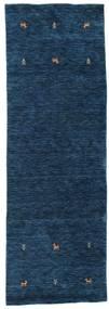 Gabbeh Loom Two Lines - Blu Scuro Tappeto 80X250 Moderno Alfombra Pasillo Blu Scuro (Lana, India)
