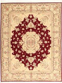 Tabriz 50 Raj Con Seta Tappeto 150X197 Orientale Fatto A Mano Beige/Rosso Scuro (Lana/Seta, Persia/Iran)