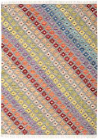 Spring Kilim Tappeto 210X290 Moderno Tessuto A Mano Grigio Chiaro/Beige Scuro (Lana, India)
