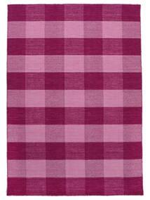 Check Kilim Tappeto 210X290 Moderno Tessuto A Mano Rosa/Rosa Chiaro (Lana, India)