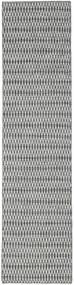 Kilim Long Stitch - Nero/Grigio Tappeto 80X340 Moderno Tessuto A Mano Alfombra Pasillo Grigio Chiaro/Blu Turchese (Lana, India)