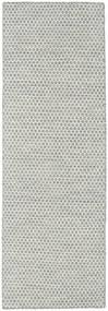 Kilim Honey Comb - Grigio Tappeto 80X240 Moderno Tessuto A Mano Alfombra Pasillo Grigio Chiaro/Beige (Lana, India)