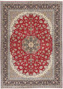 Isfahan Ordito In Seta Tappeto 300X417 Orientale Fatto A Mano Grigio Chiaro/Rosso Scuro Grandi (Lana/Seta, Persia/Iran)