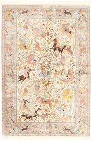 Qum Di Seta Tappeto 140X211 Orientale Fatto A Mano Beige/Rosa Chiaro (Seta, Persia/Iran)