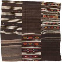 Kilim Patchwork Tappeto 199X199 Moderno Tessuto A Mano Quadrato Marrone Scuro (Lana, Turchia)