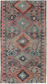 Kilim Turchi Tappeto 163X292 Orientale Tessuto A Mano Grigio Scuro/Marrone Chiaro (Lana, Turchia)