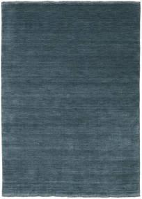 Handloom Fringes - Blu Petrolio Tappeto 140X200 Moderno Blu/Blu Scuro (Lana, India)