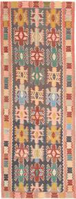 Kilim Tappeto 147X397 Orientale Tessuto A Mano Alfombra Pasillo Grigio Scuro/Rosa Chiaro (Lana, Persia/Iran)