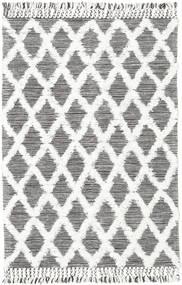 Inez - Marrone Scuro/Bianco Tappeto 140X200 Moderno Tessuto A Mano Grigio Chiaro/Beige (Lana, India)