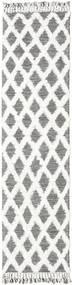 Inez - Marrone Scuro/Bianco Tappeto 80X300 Moderno Tessuto A Mano Alfombra Pasillo Grigio Chiaro/Bianco/Creme (Lana, India)