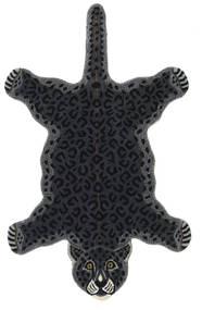 Leopard - Nero Tappeto 100X160 Moderno Grigio Scuro (Lana, India)