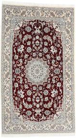 Nain 9La Tappeto 130X225 Orientale Fatto A Mano Grigio Chiaro/Rosso Scuro (Lana/Seta, Persia/Iran)
