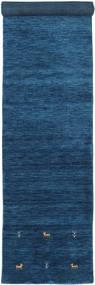 Gabbeh Loom Two Lines - Blu Scuro Tappeto 80X350 Moderno Alfombra Pasillo Blu Scuro/Blu (Lana, India)