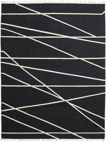 Cross Lines - Nero/Bianco Sporco Tappeto 200X300 Moderno Tessuto A Mano Nero (Lana, India)