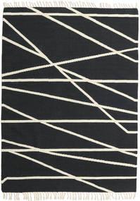 Cross Lines - Nero/Bianco Sporco Tappeto 160X230 Moderno Tessuto A Mano Grigio Scuro/Beige (Lana, India)