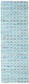Elna - Bright_Blue Tappeto 80X250 Moderno Tessuto A Mano Alfombra Pasillo Azzurro/Blu Turchese (Cotone, India)