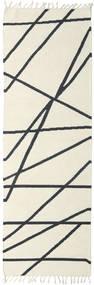 Cross Lines - Bianco Sporco/Nero Tappeto 80X350 Moderno Tessuto A Mano Alfombra Pasillo Beige/Grigio Scuro (Lana, India)