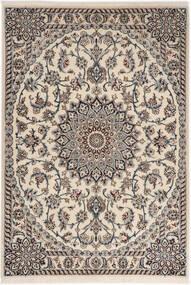 Nain 6La Tappeto 98X141 Orientale Fatto A Mano Grigio Chiaro/Beige (Lana/Seta, Persia/Iran)