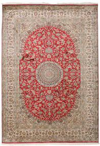 Cachemire Puri Di Seta Tappeto 171X244 Orientale Fatto A Mano Grigio Chiaro/Marrone Scuro (Seta, India)