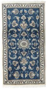Nain Tappeto 70X132 Orientale Fatto A Mano Blu Scuro/Grigio Chiaro (Lana, Persia/Iran)