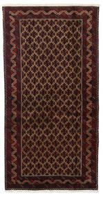Beluch Tappeto 96X188 Orientale Fatto A Mano Rosso Scuro/Marrone Scuro (Lana, Persia/Iran)