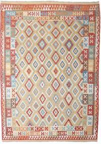 Kilim Afghan Old Style Tappeto 206X294 Orientale Tessuto A Mano Grigio Chiaro/Rosso Scuro (Lana, Afghanistan)